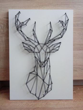 Obraz string art -JELEŃ na formacie A3