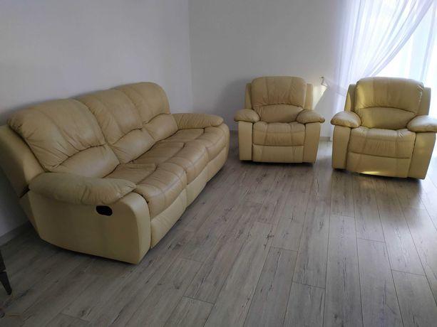 Wypoczynek, komplet skórzany, sofa i fotele