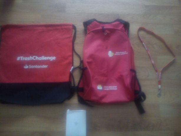 Gadżety Santander Bank. Powerbank, smycz, workoplecak, plecak