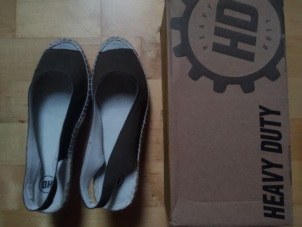 Nowe szare ciemnoszare damskie sandały na koturnie Heavy Duty