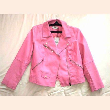 Кожаная куртка розовая кожанка косуха на змейке с молниями