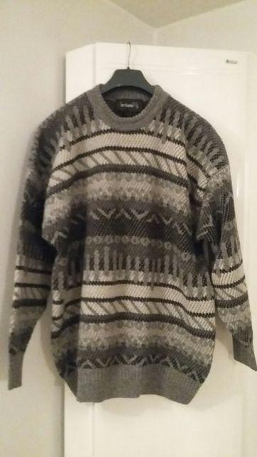 Sweter szary wełniany męski