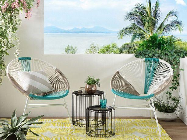 Conjunto de 2 cadeiras de jardim em rattan sintético multicolor azul ACAPULCO - Beliani