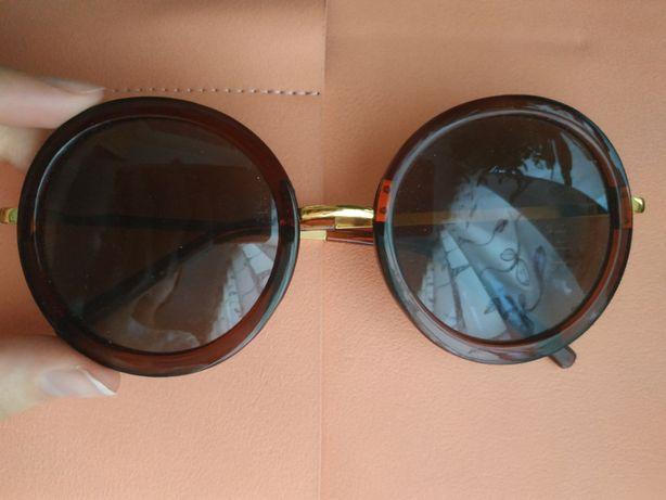 ZARA okulary przeciwsłoneczne brązowe muchy duże