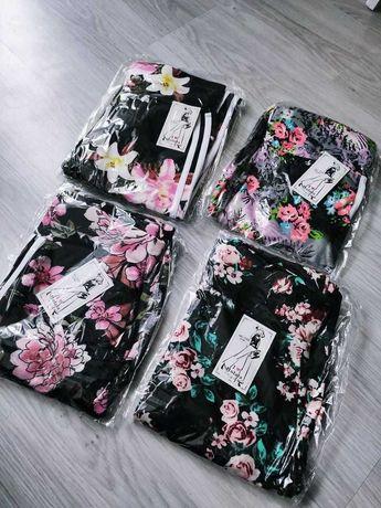 Spodnie w kwiaty legginsy S,M,L,XL,XXL legginsy z lampasem