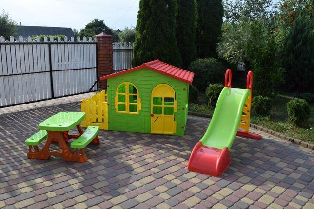 Детский садовый домик+столик и лавочки + терраса + горка Польша