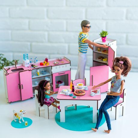 Мебель кукольный домик NestWood HDF Кухня Барби холодильник печка стол