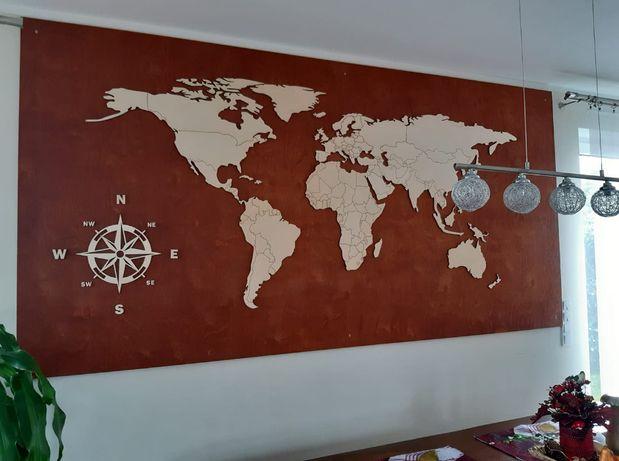 Drewniana mapa świata dekoracja drewno 220x100cm granice grawer