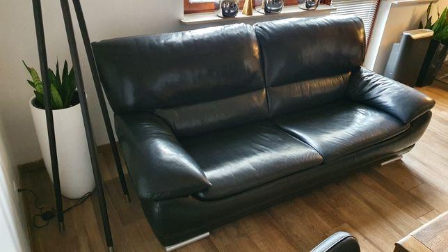 Sofa ze skóry naturalnej stan bardzo dobry + podnóżek