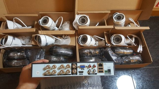 sistema video vigilancia 8 cameras 1080p 2mp AHD disco 4tb Android Ios