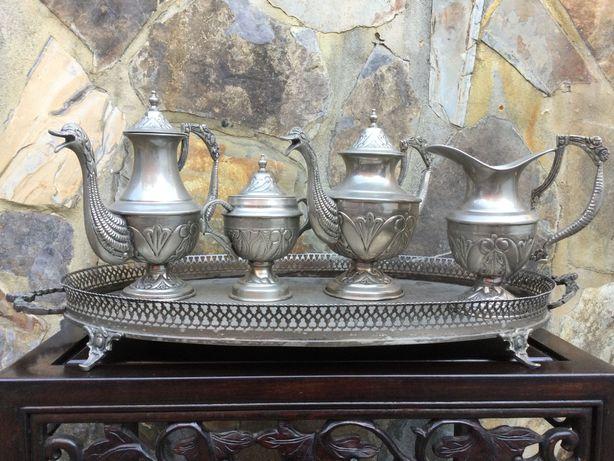 Serviço chá tabuleiro gradinha Antigo 65 cm