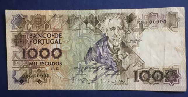 nota 1000 escudos - Teófilo Braga - 22 DEZ 1988 - numeração baixa