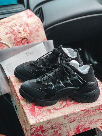 Черные кроссовки Dior D-Connect ПРЕМИУМ КАЧЕСТВО! Диор Женские Осень