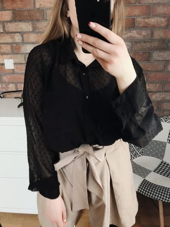 Czarna koszula w kropki oversize plumeti groszki basic minimal