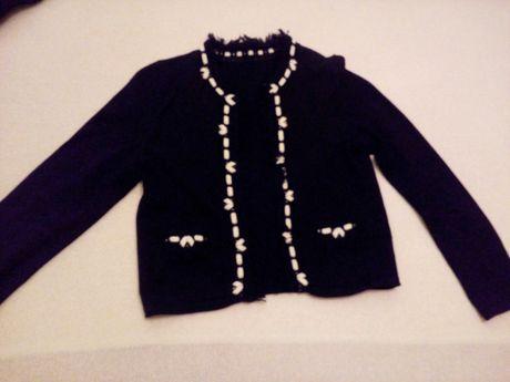 Sweter sweterek dziewczęcy damski bliźniak 2 w 1 rozmiar M 38 czarny