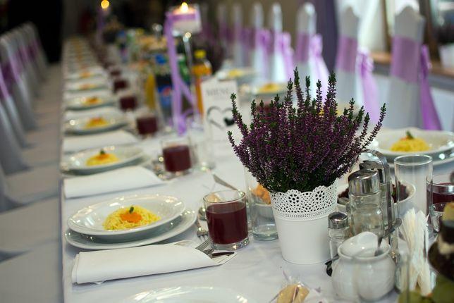 Doniczki/osłonki ażurowe, dekoracja weselna
