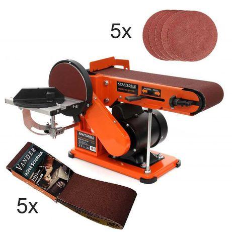 Szlifierka stołowa TAŚMOWO TALERZOWA 600W + 10x piapier