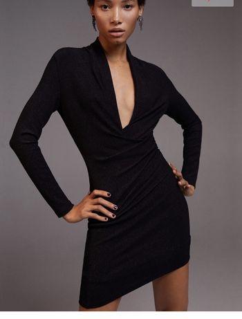 Mango mala czarna sukienka mini dekolt z rekawem XS