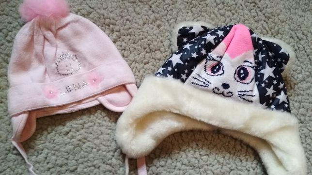 Зимняя и демисезонная шапки на новорождённую девочку