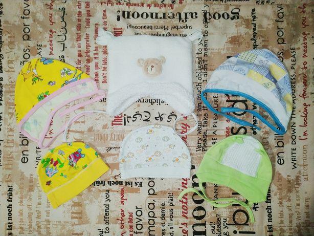 Шапочки для новорожденных,зимняя,демисезон + подарок