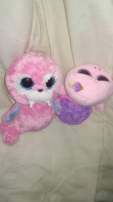игрушка мягкая глазастик TY розовая черепаха моржик котик попа-шарики