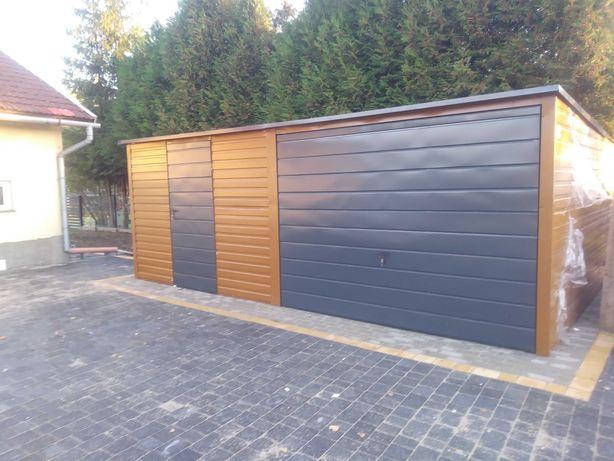 Garaż blaszany 6x6 biały,drewnopodobny