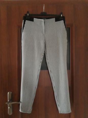 RESERVED spodnie cygaretki pepitko czarno białe 38 M