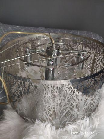 Piękna Lampa kryształy żyrandol  forest srebrny kolor