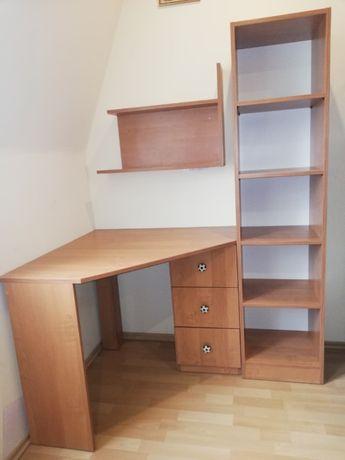 biurko narożne, półki stojąca i wisząca