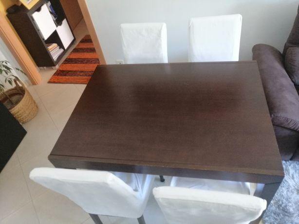 Mesa de jantar extensível, oferta de 4 cadeiras