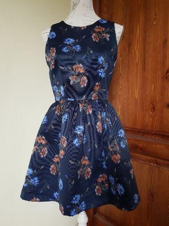 Zara цветочный принт мини платье в васильки М