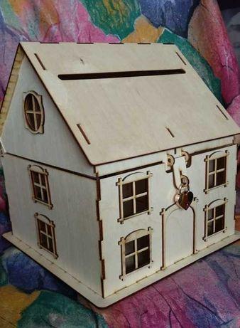 Domek pudełko na koperty drewniane