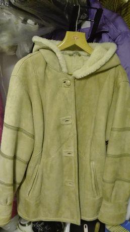 Kożuch, płaszcz, kurtka, naturalny M/L kaptur