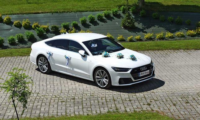 Samochód Audi a7 s-line białe do ślubu małopolska