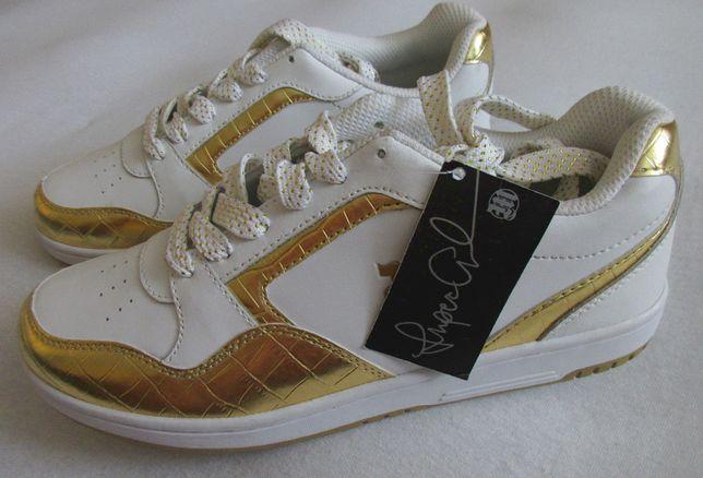 NOWE buty skórzane damskie 39,5 trampki sportowe skóra złote