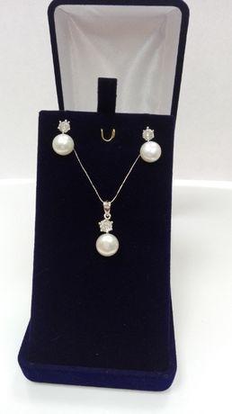 Srebrny komplet z perłami, próba 925