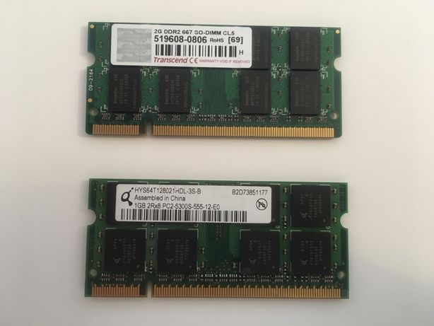 Memorias Ram DDR2 667 SO DIMM 2Gb e 1Gb