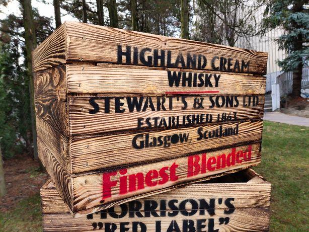 Skrzynka drewniana Old Whisky opalana vintage LOFT