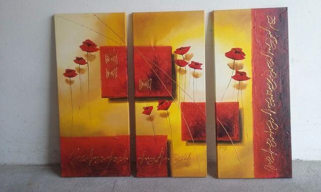 ręcznie malowany obraz 3 częściowy
