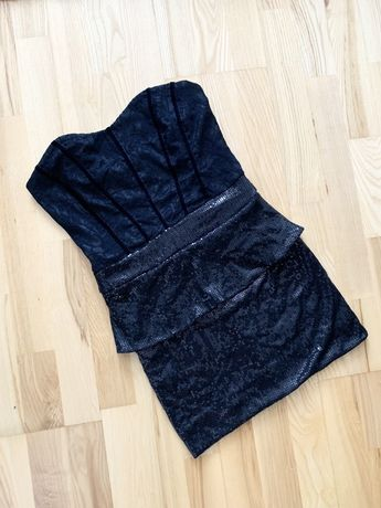 Sukienka imprezowa czarna mini gorset lace cekiny S M