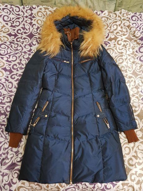 Зимняя курточка пуховик пальто холофайбер Натуральный мех