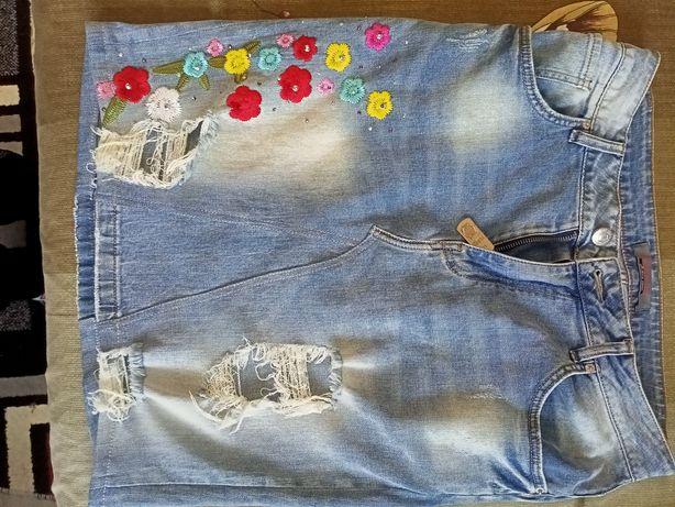 Крутая джинсовая юбка