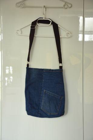 torba dżinsowa jeansowa A4 torebka handmade diy jeans worek