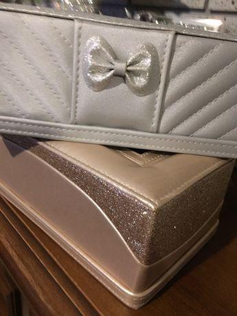 Chustecznik srebrny złoty błyszczący brokatowy glamour