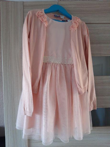 Sukienka plus sweterek zestaw na okazje święta 110/116
