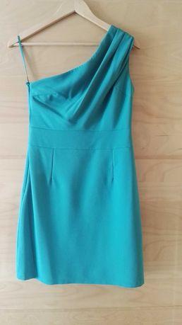Vestido azul turquesa com uma alça