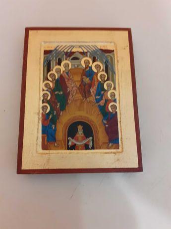 Piękna Ikona bizantyjska Zesłanie Ducha Świętego malowana złotem