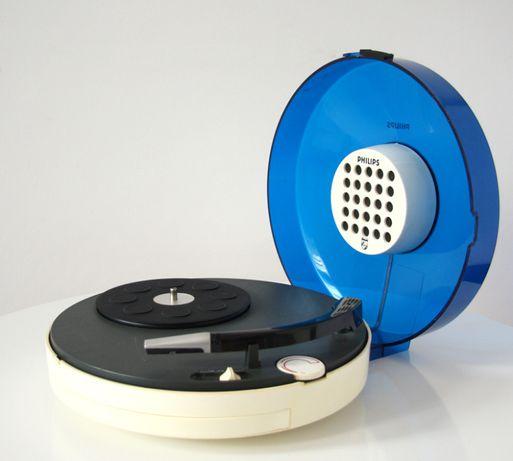 Gira Discos Vintage Portátil Philips 22GF303 Turntable Space Age Azul