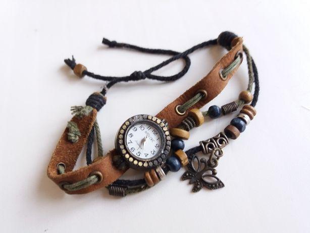 Часы женские Hippie chic кожаный ремешек браслет аксесуары стильные