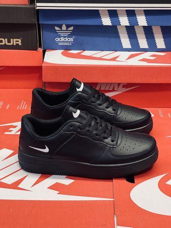 Кожаные классические Найк Форс все размеры 35-46 Nike Air Force Black